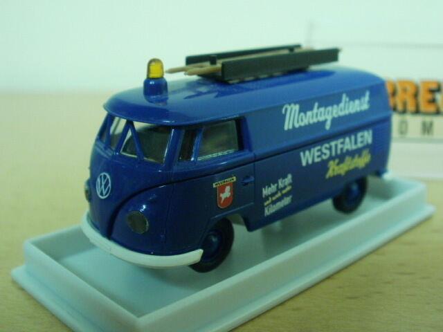 Volkswagen Bus, servicio de montaje, azul azul azul oscuro, 1 87, Brekina 3acee4