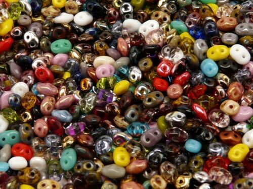 RK2000 20g 2.5x5mm MIX of SuperDuo 2-hole Seed Beads Czech Glass