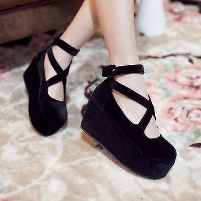New Womens Ankle Cross Strap Platform Wedge Heels Comfort Velvet Cosplay Shoes