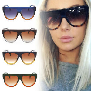 854b25714eb1 Details about Women Fashion Flat Top Sunglasses 2019 Trend Retro Vintage  Oversized Shades