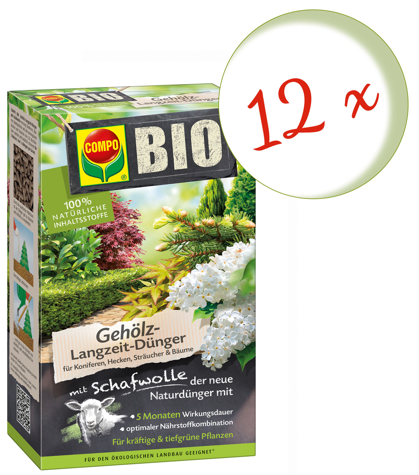 Repostería  12 x compo bio entre los árboles a largo plazo, fertilizante con lana de oveja, 750 G