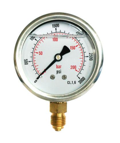 IDRAULICO MANOMETRO GLICERINA riempito 0//3000 PSI BAR 0//200 63mm Dial 1//4 BSP