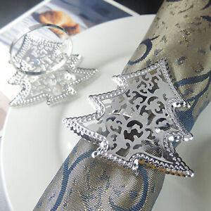 6-Stuecke-Stern-Weihnachtsbaum-Serviettenring-Serviettenschnallenhalter-Hochzeit