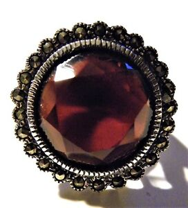 Antique-Vintage-Large-Garnet-Solitaire-Ring-Sterling-Silver-925-Marcasite-Deco