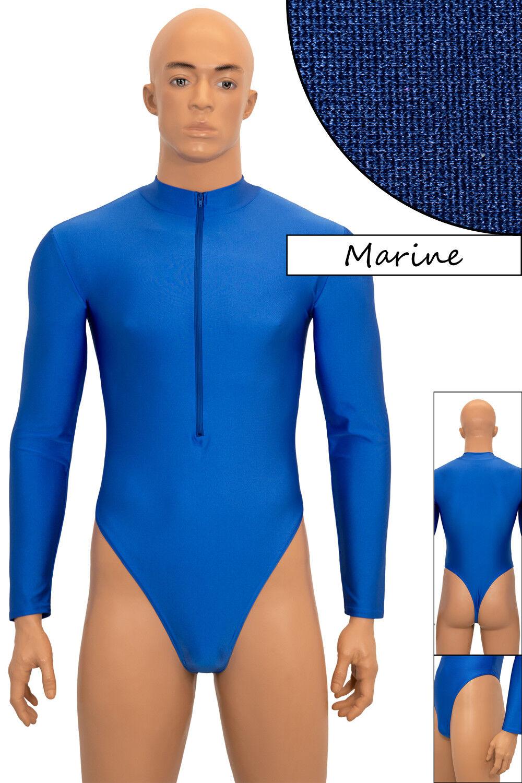Uomo Stringbody Scollo Gamba-Alta Marine manica lunga front-RV Stretch Shiny