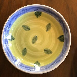 Caleca-PASTA-Bowl-Italy-Williams-Sonoma-BLUE-GREEN-Leaf-8-25x2-034-MINT