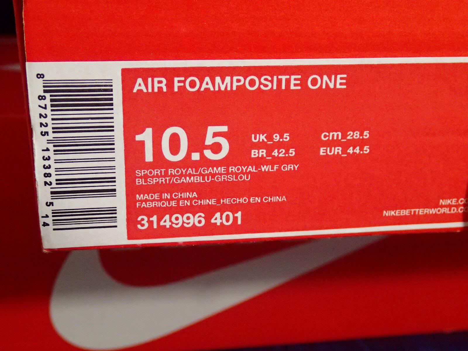 Nike Air Foamposite One Sport Royal Game Royal bluee Grey Grey Grey SZ 10.5 ( 314996-401 ) 64aed7