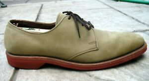 Allen-Edmonds-Olive-Green-Suede-Leather-Oxford-Dress-Shoes-Mens-10-AAA-EUC