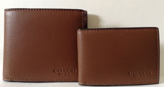 6a741fad1bba ... black 2b47e d01be closeout nwt coach mens saddle brown calf leather  bifold with mini id wallet f64118 197f7 33861 ...