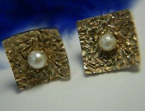 Homme-Vintage-Perle-1-9cm-Carre-or-Delave-Vermeil-0-925-Argent-Sterling-Boutons