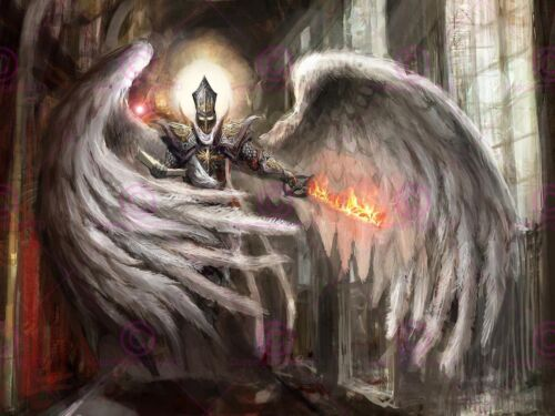 PAINTING FANTASY WINGED WARRIOR SWORD FIRE ART PRINT POSTER MP5389A