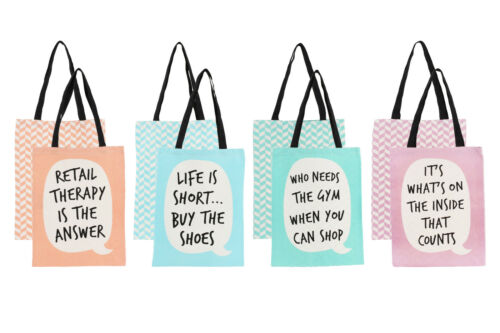 New Orange Canvas Shopper Shopping Tote Bag with Speech Bubble Quirky Slogan