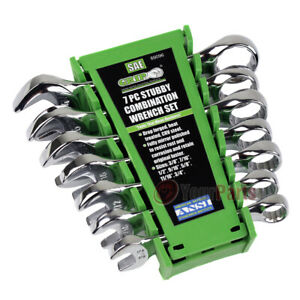 8-pc.Stubby Ratcheting Combination Wrench Set Roll-up Storage Pouch SAE standard