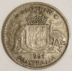 1954 Australia 1 Florin Silver Coin Kangaroo & Emu - QEII KM# 54