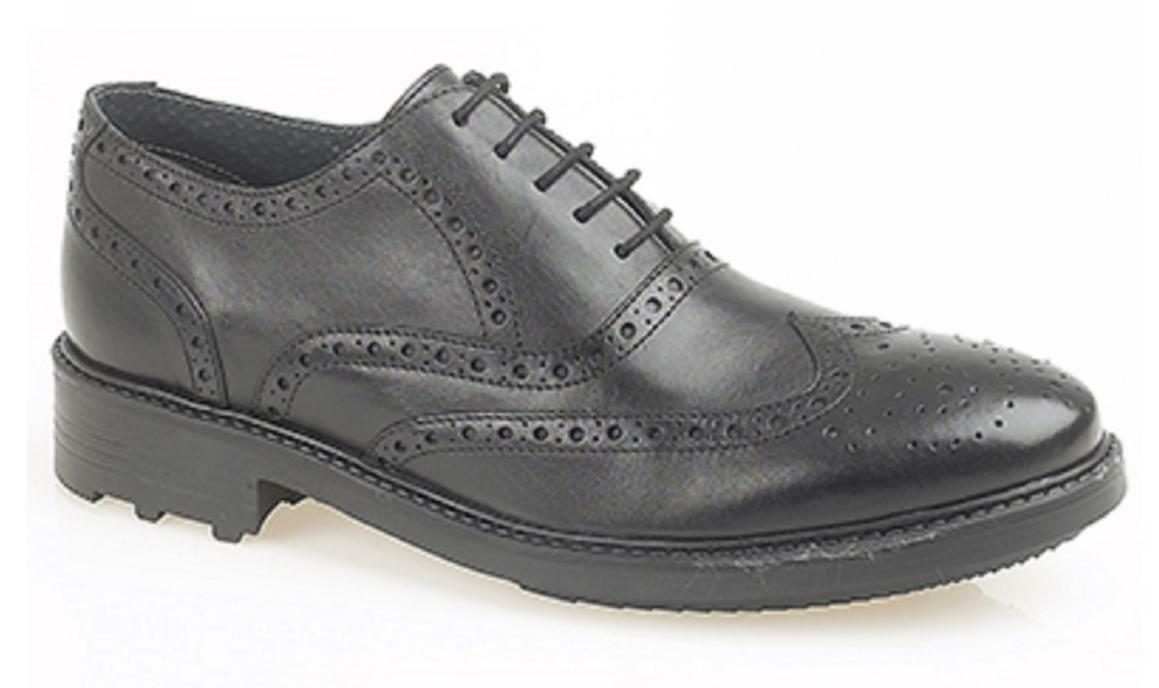Roamers Hombre Leather Brogue 5 Eyelet Eyelet Eyelet Lace Up Formal Office Oxford Zapatos Negro 0a3be3