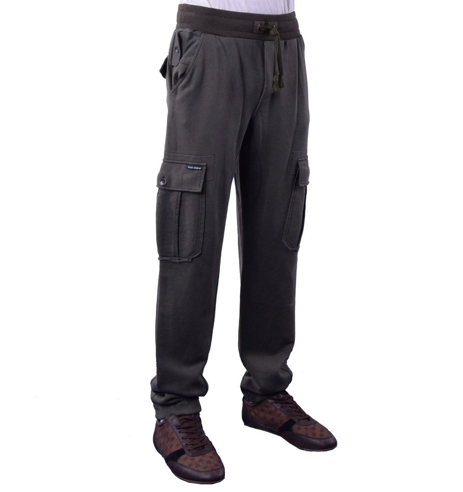 DOLCE & GABBANA Sporthose Fitness Hose im Militär-Stil Khaki Sport Trousers 0412