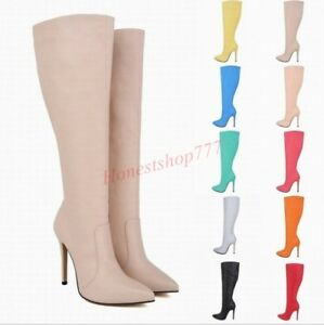 Women-Party-Knee-High-Boots-High-Heel-Stiletto-Pointy-Toe-Side-Zipper-Vogue-Shoe