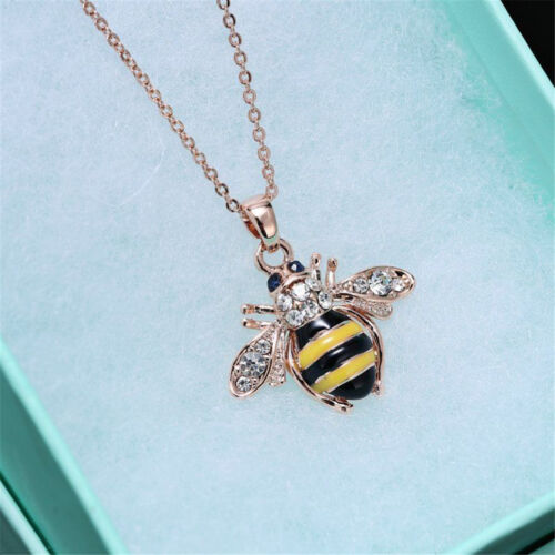 Unique Women Honey Bumblebee Bee Crystal Pendant Chain Necklace PVCA