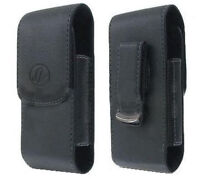 Black Leather Case Pouch Holster With Belt Clip For Tracfone Motorola W260g