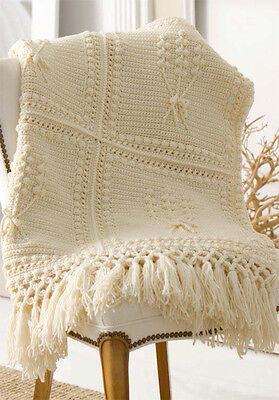 Lovely winter Aran Throw Crochet Pattern for the more experienced crocheter