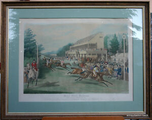 Charles-I-Hunt-Farbaquatinta-Grand-Stand-Goodwood-Winner-1853-Pferderennen