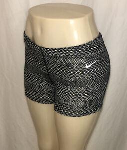 Nike-Dri-Fit-Womens-Small-White-Black-Running-Training-Gym-Zip-Pocket-4-Inseam