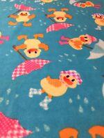 Ducks Fleece Fabric Single 2 Yard Piece No Sew Blanket Crafts Umbrella Nursery