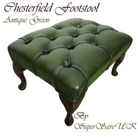 Traditional Chesterfield 100% Genuine Leather Queen Anne Footstool Antique Green