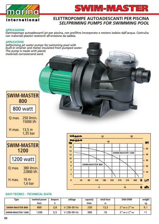 Elettropompa pompa piscina marca MARINA SWIM MASTER 800 prefiltro incorporato