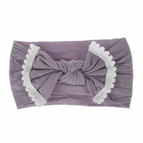 Baby Kids Girls Big Bow Hairband Nylon Stretch Turban Knot Head Wrap Headband