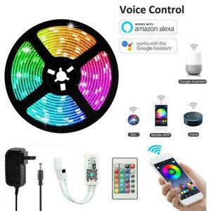 5M-RGB-LED-Tira-de-Luz-Wifi-casa-inteligente-control-de-APP-Lampara-Impermeable-para-Alexa