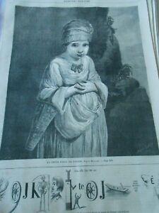 Gravure-1861-La-jeune-fille-au-panier-d-039-apres-reynolds