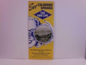 Vintage See Colorado Springs Gray Line Pikes Peak Region Travel Brochure S2467