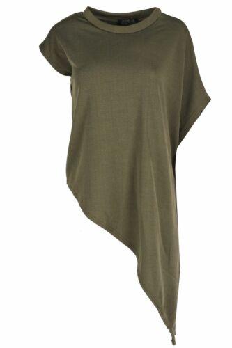 Femmes à manches courtes Côté Slant Drapé Asymétrique Col Polo Extensible T Shirt Top