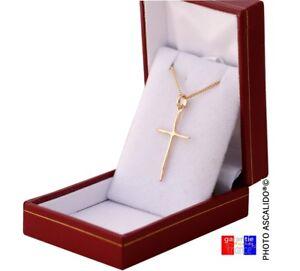 pendentif petite croix et chaine plaqué Or véritable femme enfant ... 5f0498aae07