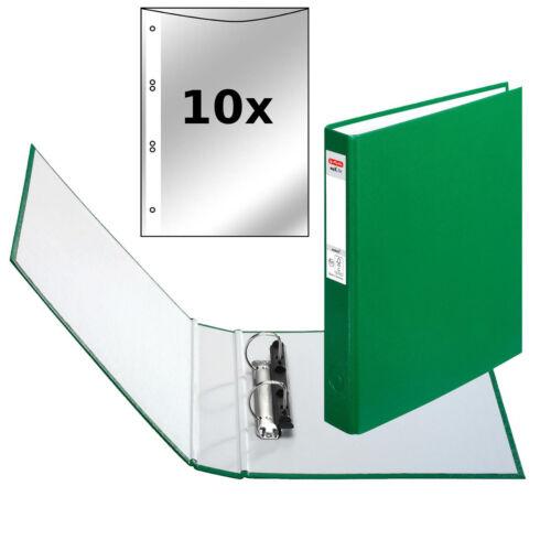 incl DIN A5 mit 2-Ringe Herlitz Ringbuch grün Farbe 10 Prospekthüllen
