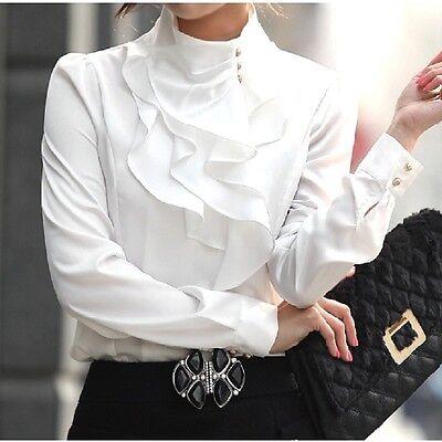 Fashion Women High Collar Long Sleeve Ruffle Front Button T Shirt Tops Blouse