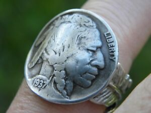 Ring-Buffalo-Indian-Nickel-coin-feather-silver-plated-6-to-11-size-adjustable