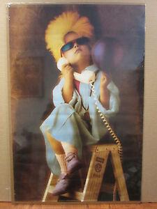 Vintage 1989 Telephone Punk Girl original cute kid poster