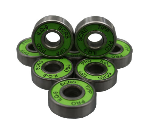 8x Green Speed Inline Skate Skateboard ILQ-9 fit for ABEC-9 608RS Steel Bearings