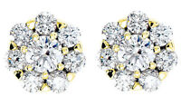 2.08 ct 14k Yellow Gold Cluster Stud Earrings Round cut DIAMONDS G-H color SI1