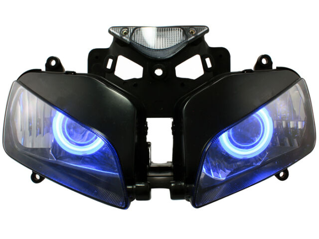 Fully Motorcycle Headlight W/HID Blue Angel Demon Eyes For 04-07 Honda CBR1000RR
