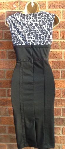 50/'S VINTAGE STYLE COWL NECK BLACK//GREY PENCIL WIGGLE DRESS