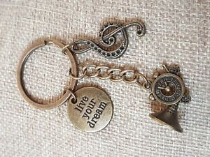 Live-your-Dream-Trumpet-Music-Symbol-Keychain-Keyring-Charm-Gift