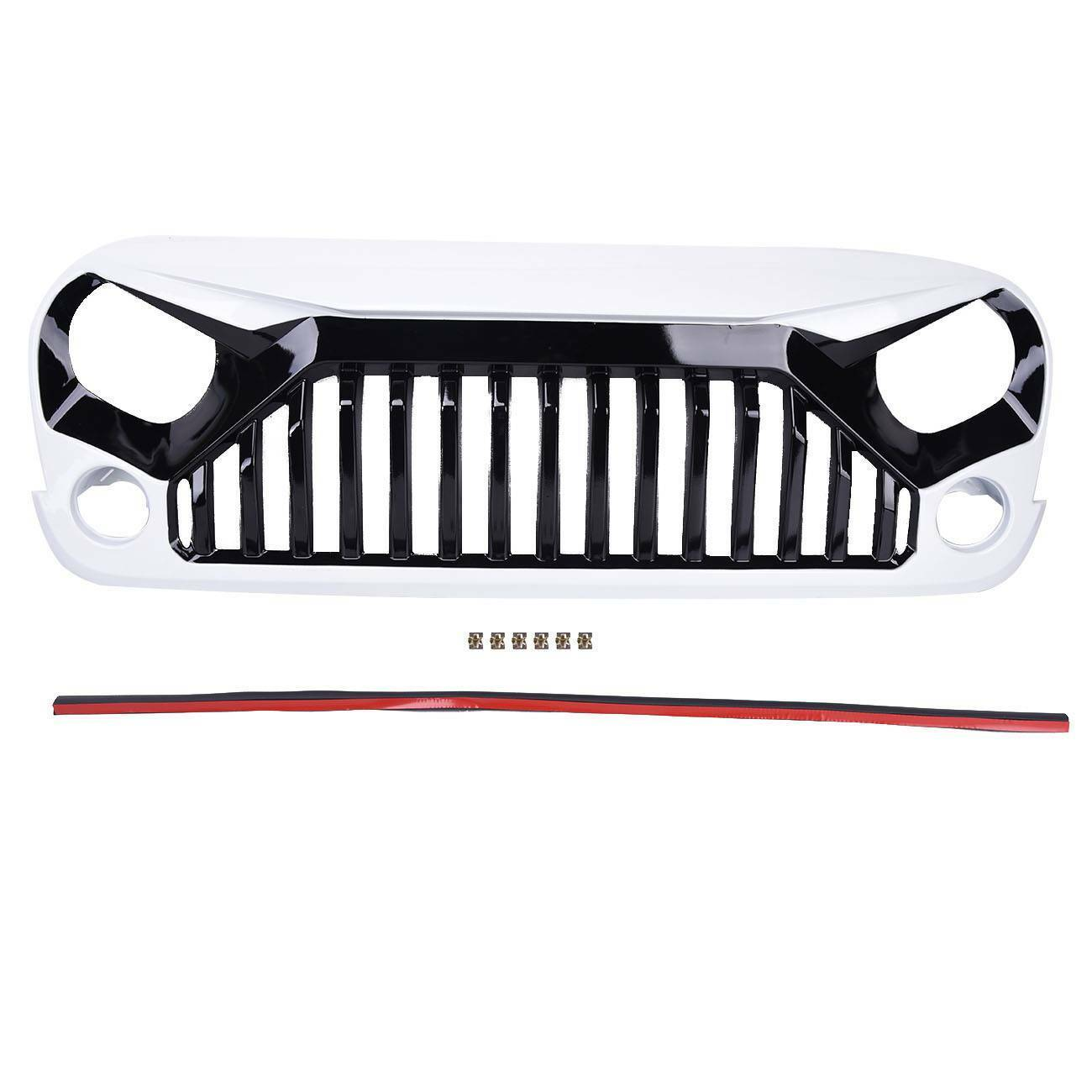 Front White Angry Bird Bumper Hood Grill Grille for Jeep 07-17 Wrangler JK