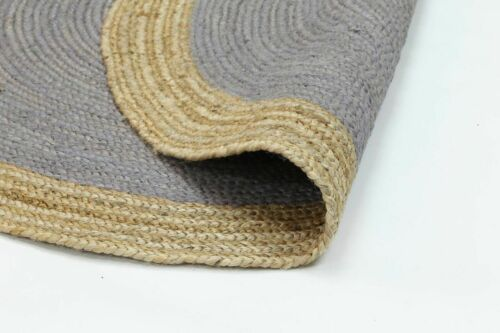 Details about  /4 Feet Hand Braided Bohemian Jute Area Multi Color Round Rug Pure Jute Rug