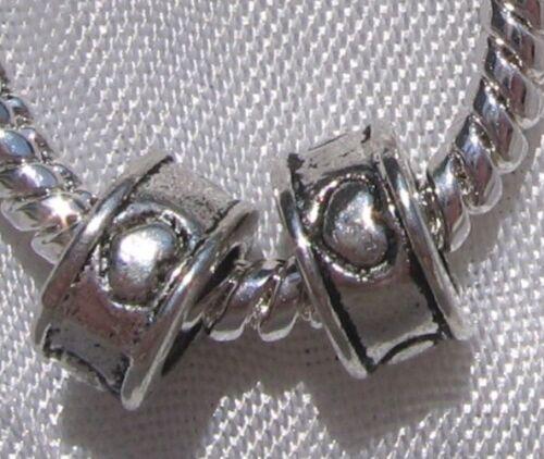 10 CHARMS ANNEAUX COEURS METAL ARGENTE 8X4MM pr chaine serpent fils bracelet*E31