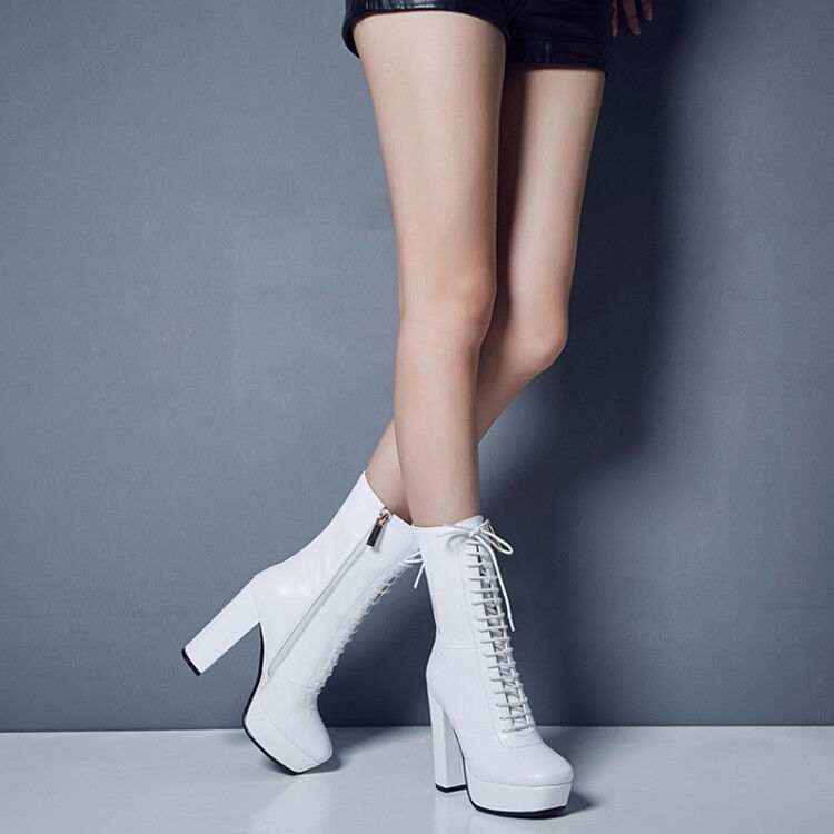 NICE Women Mid-Calf Boots Square Toe Square Heels Leather shoes Women Size 3-9.5