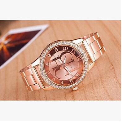 New Crystal Dial Stainless Steel Women Quartz Analog Luxury Wrist Watch