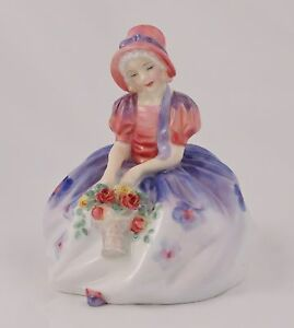 Royal-Doulton-Figurine-Monica-HN1467-Bone-China-Girl-with-Basket-Flowers-Purple